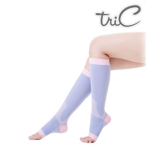 Tric - 睡眠機能美腿露趾小腿襪 紫色