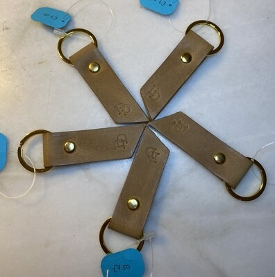 Ready Made Keyring Double Strip - Tan