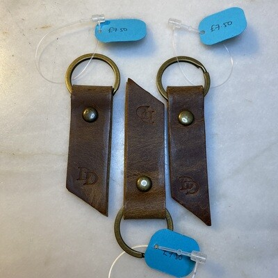 Ready Made Keyring Double Strip - Natural Brown