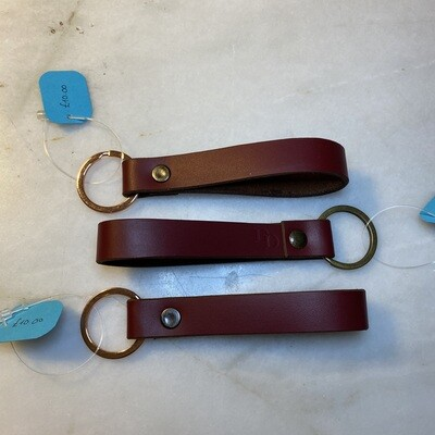 Ready Made Keyring Loop - Red Top Grain