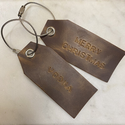 Personalised Leather Tags - Set of 3