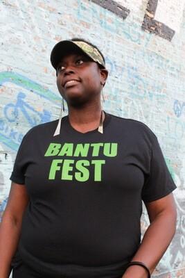 Bantu Fest Green on Black Tee X-LARGE (Unisex)
