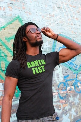Bantu Fest Green on Black Tee (Unisex)