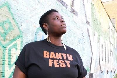Bantu Fest Orange on Black Tee X-Large (Unisex)