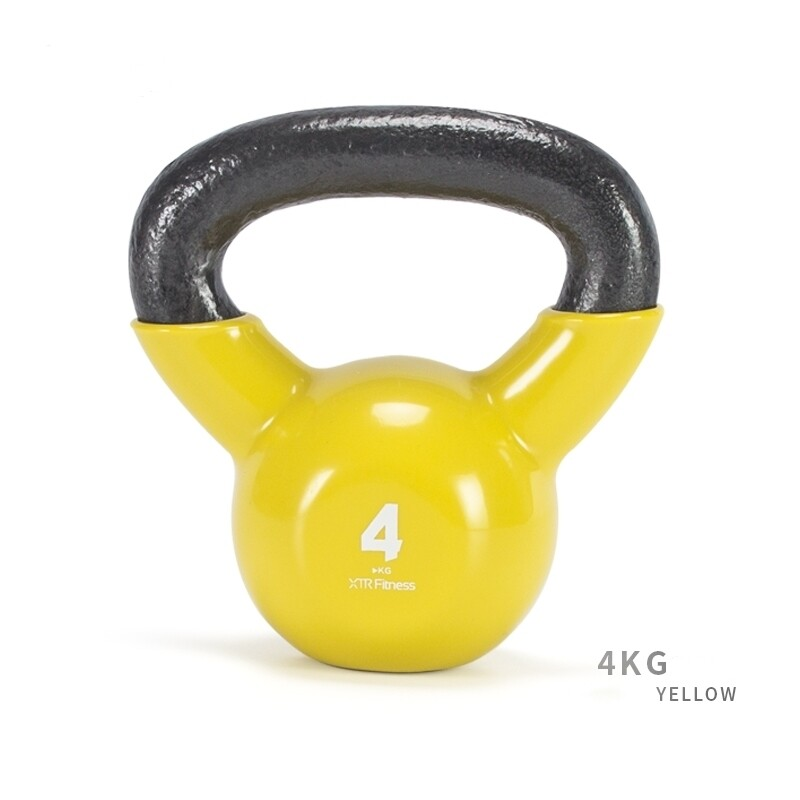 4KG Cast Iron Rubber Coated  Kettlebell Yellow
