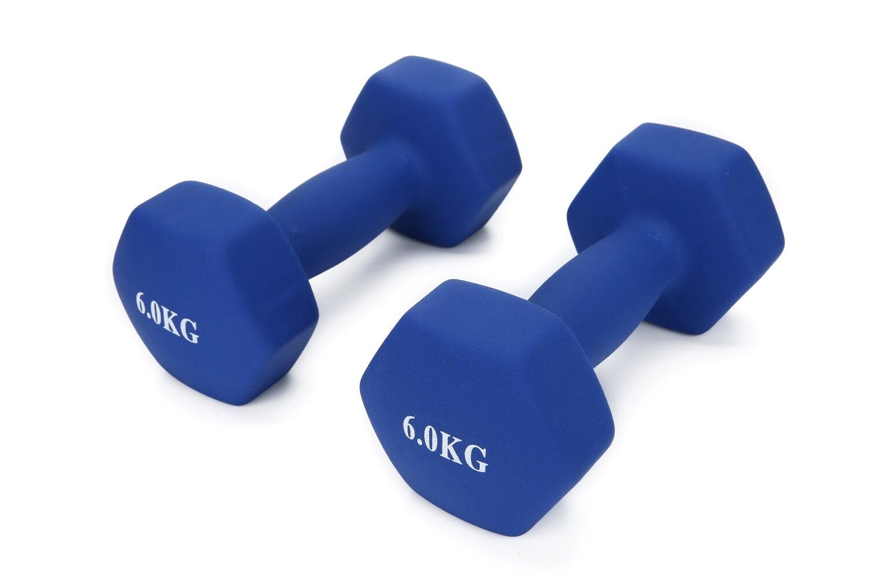 6KG Pair Neoprene Hex Dumbbells Set Blue