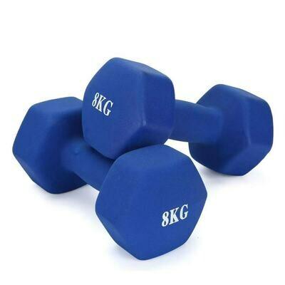 8KG Pair Neoprene Hex Dumbbells Set Blue