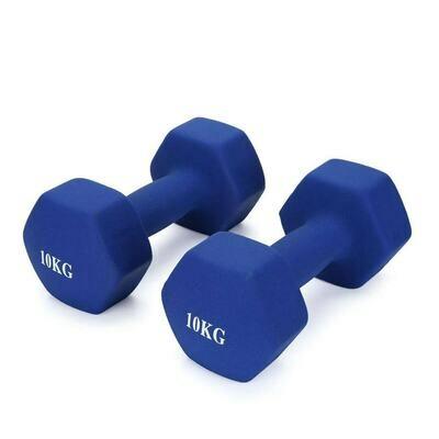10KG Pair Neoprene Hex Dumbbells Set Blue
