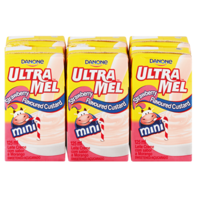 Danone Ultramel Custard Mini Strawberry 6x125ml