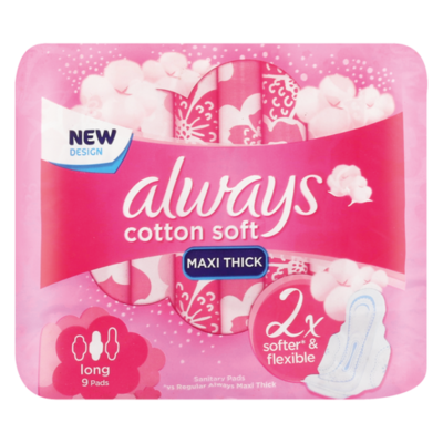 Always Cotton Soft Long Sanitary Pads 9's