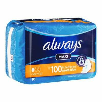 Always Maxi Thick Sanitary Pads Normal 10's