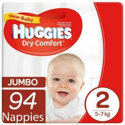 Huggies Dry Comfort Size 2 Jumbo 94 Nappies