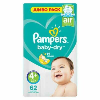 Pampers Baby Dry Size 4+ Jumbo Pack 62 Nappies