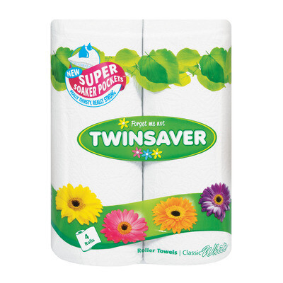 Twinsaver Roller Towel Classic White 2 Rolls