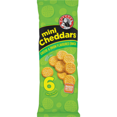 Bakers Mini Cheddars Cheese & Onion Flavoured 6 Snack Packs