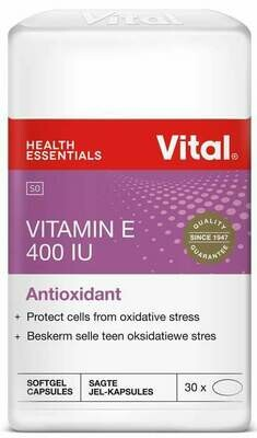 Vital Vitamin E 400 IU Antioxidant 30 Capsules