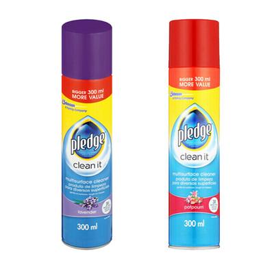 Pledge Clean It Multi Surface Cleaner Potpourri 300ml + Lavender 300ml