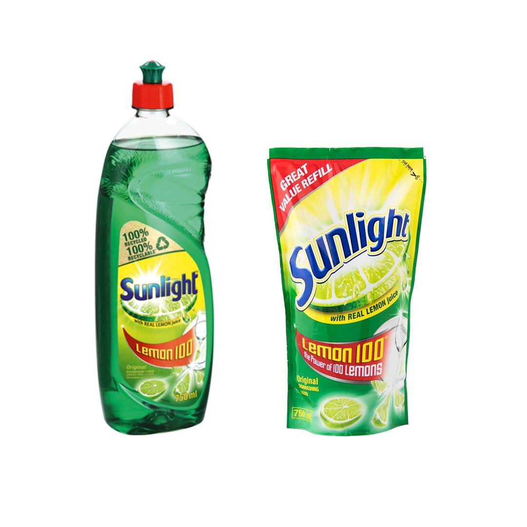 Sunlight Dishwashing Liquid Lemon 750ml + Refill