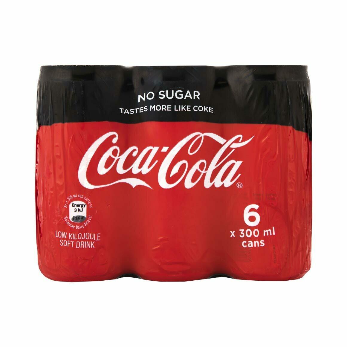 Coca Cola No Sugar Can 6x300ml