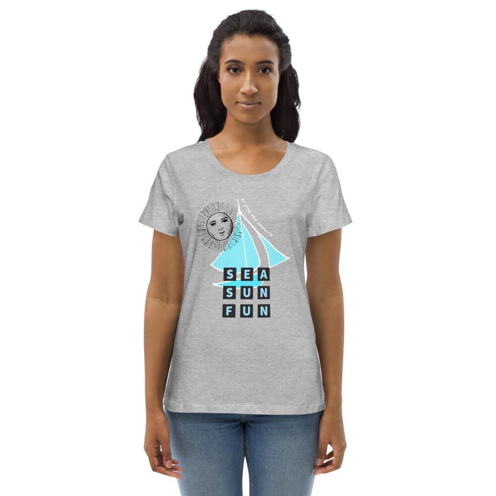 SEA SUN FUN – Enganliegendes Organic-T-Shirt  | Grau | für Damen