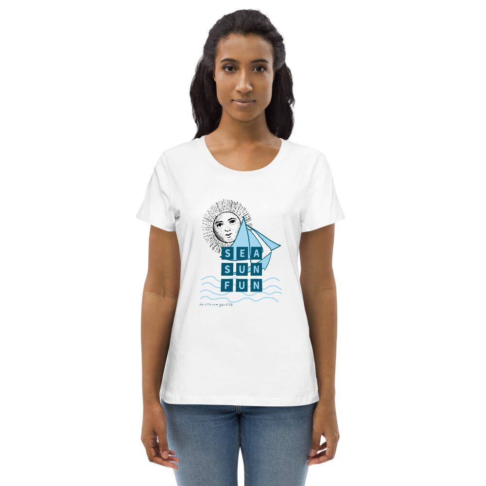 Eng anliegendes Organic-T-Shirt für Damen | Weiß | Motiv: Sea Sun Fun 6