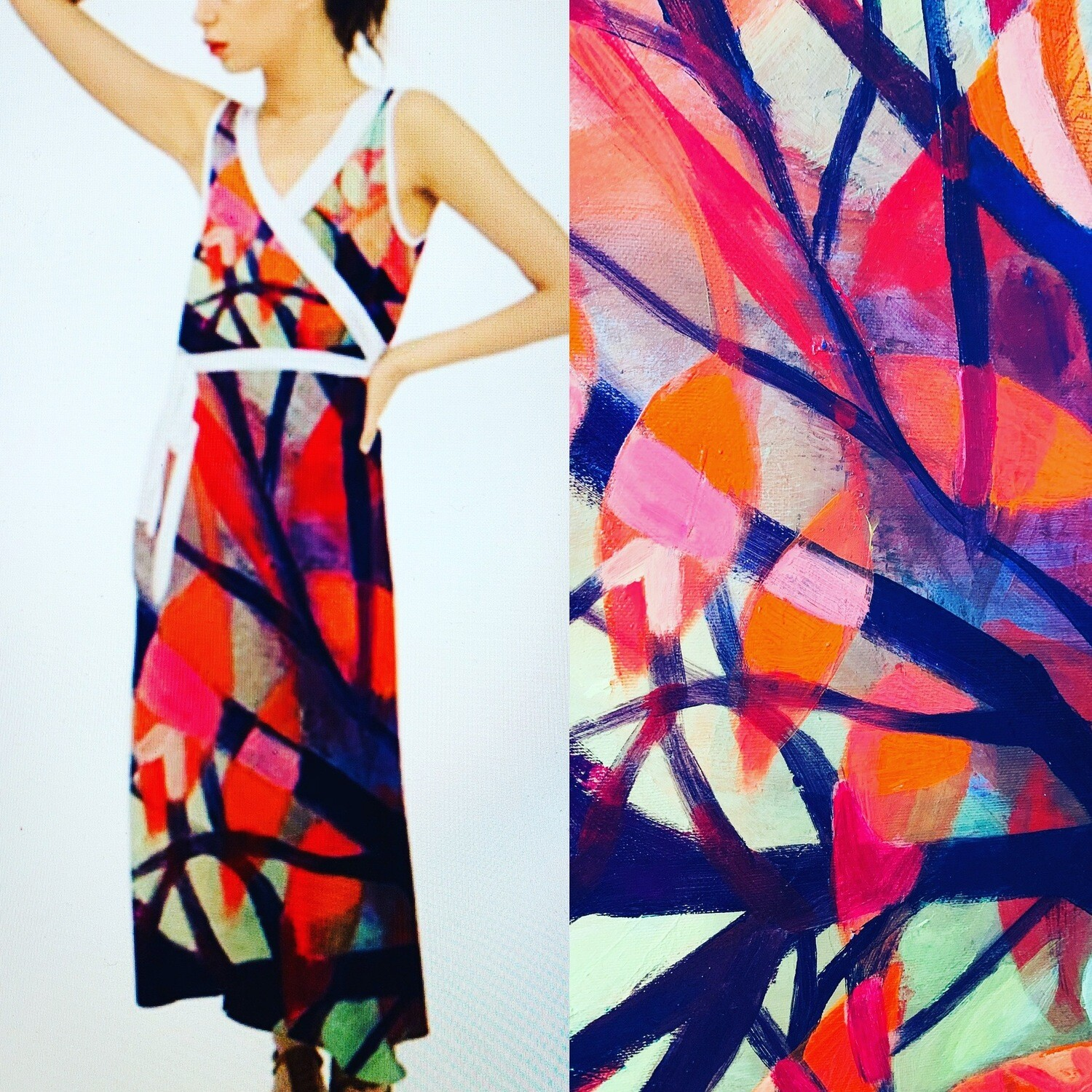 Sleeveless Maxi Dress V- neck in violet and watermelon leaves