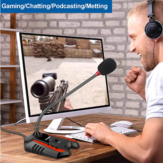 Micrófono Profesional con stand USB para Gaming - compatible con PC, Laptop, Mac, PS4 - Recording, Streaming, YouTube, Podcast Mics, Live Chat