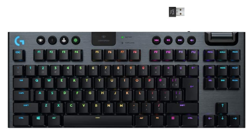 Teclado Logitech G915 TKL Tenkeyless Lightspeed Wireless RGB Mechanical Gaming - Low Profile Switch Options - LIGHTSYNC RGB - Advanced Wireless and Bluetooth Support - Tactile
