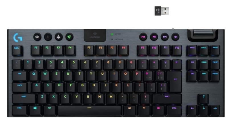 Teclado Logitech G915 TKL Tenkeyless Lightspeed Wireless RGB Mechanical Gaming - Low Profile Switch Options - LIGHTSYNC RGB - Advanced Wireless and Bluetooth Support - Tactile