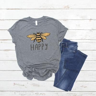 Bee Happy tshirt Free Shipping