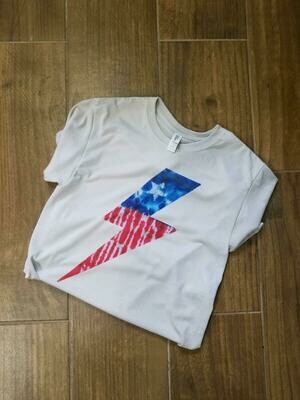 Patriotic lightning bolt tshirt in silver or tank in white