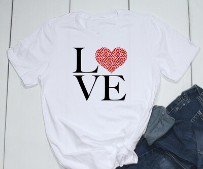 Valentine shirt Love Square with Leopard print red heart