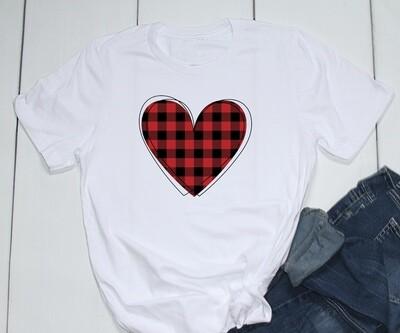 Valentine shirt red plaid heart