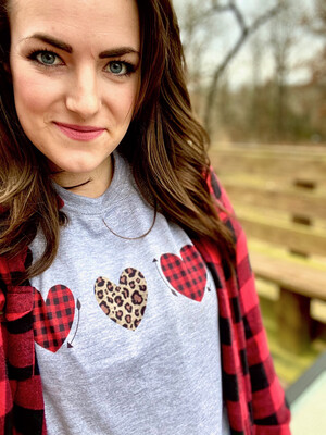 Valentine shirt Triple Heart with Leopard print and bufflao plaid red heart