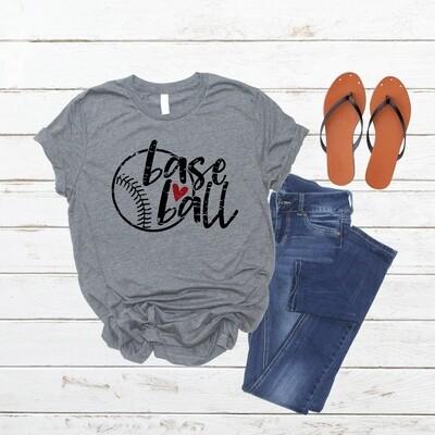 Baseball shirt with ball and heart