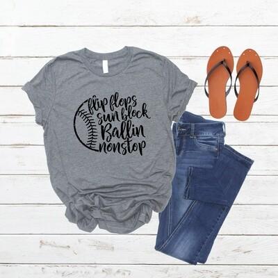 Flip Flops, sun block, ballen nonstop with ball graphic, T-shirt, Mom life