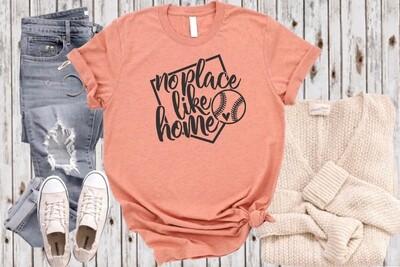 No Place like Home, baseball or softball T-shirt, Mom life