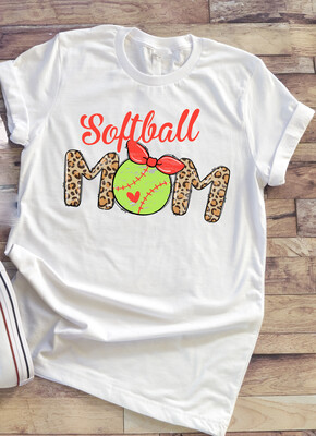Softball Mom shirt with leopard print,  yellow ball and heart