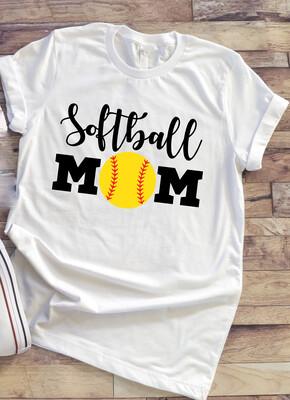 Softball Mom shirt with yellow ball