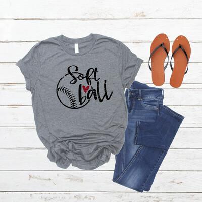 Soft Ball shirt with heart, mom life