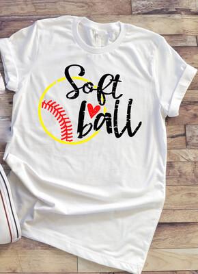 Soft Ball shirt, yellow ball with heart, mom life