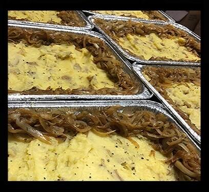 "SIDES : MASHED POTATO with Caramel Onion Topping  (THXG) | GF | DF | 9""x13"" pan | serves 8-12"