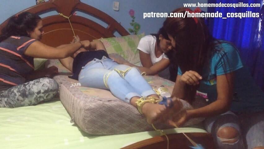 Tickling challenge 3 vs 1. Turn of Maria's sister