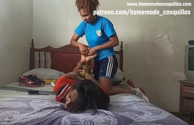 Tickling challenge. Franselys tickled by soccer girl
