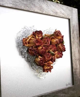 Clear Heart with Dried Roses