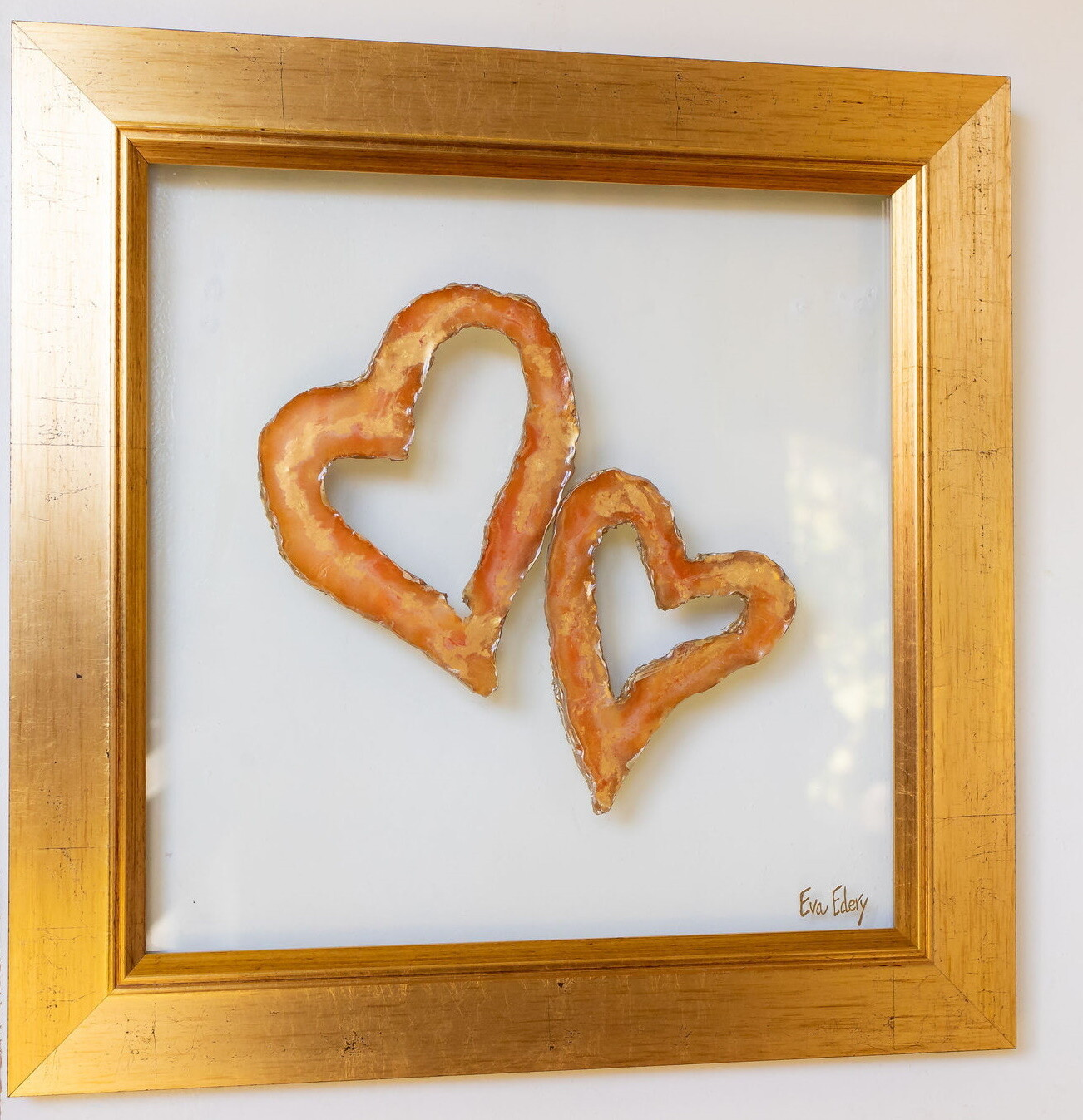 Heart Pair in Golden Hues