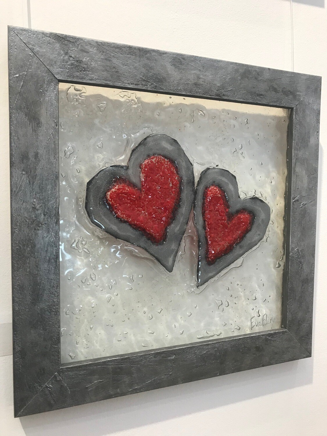 Heart Pair in Red & Silver