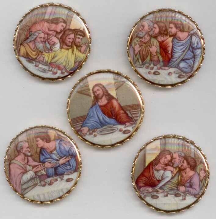 Lord's Supper, Transfer on Porcelain set in Metal