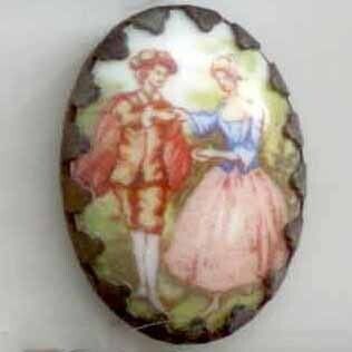 Couple, Transfer on Porcelain in Metal