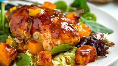 Smokin' Summer Mesquite Smoked Maple Mango BBQ Chicken Thighs & Sweet Potatoes
